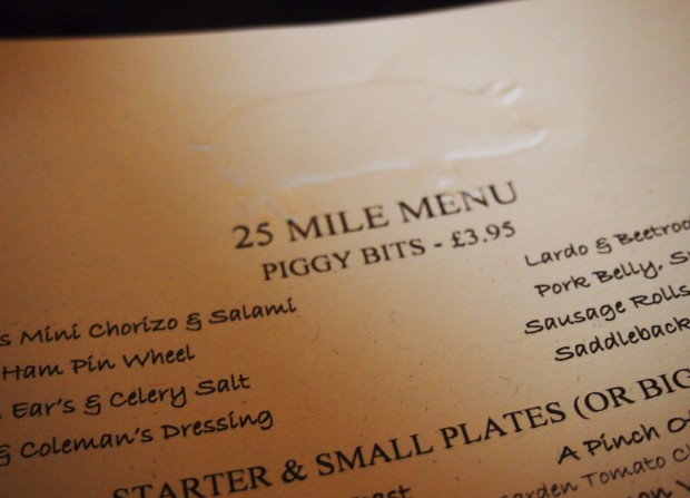 25 Mile Menu The Pig